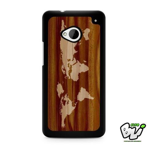 World Map Siluet In Wood HTC G21,HTC ONE X,HTC ONE S,HTC M7,M8,M8 Mini,M9,M9 Plus,HTC Desire Case