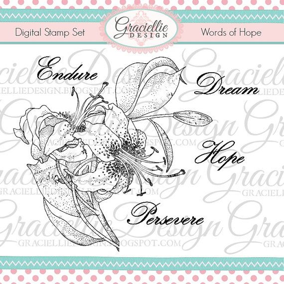 Words of Hope  Digital Stamp Set by GraciellieDesign on Etsy