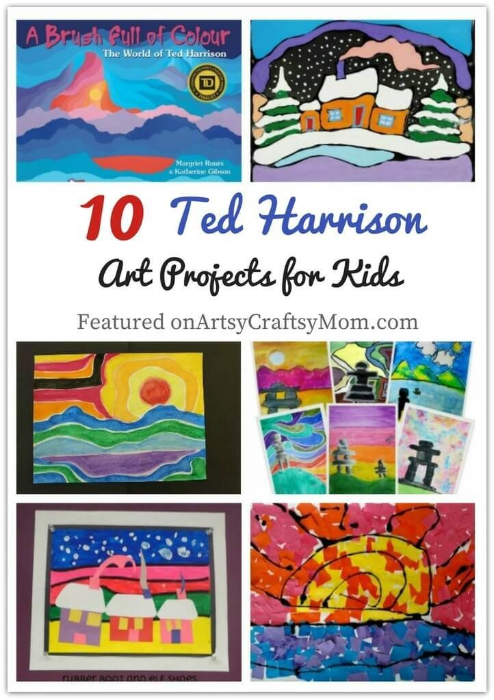 Ted Harrison thought it was a compliment that children could understand his art. That's why they'll also love these Ted Harrison Art Projects for Kids! via @artsycraftsymom