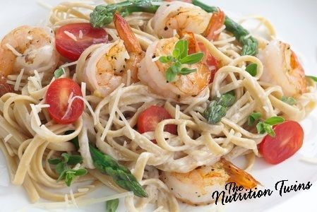 Pasta with Shrimp, Asparagus, Tomatoes and Herbs | Comfort Food at its' Best! | Satisfying for only 340 Calories! 32 Grams Protein | For MORE RECIPES please SIGN UP for our FREE NEWSLETTER www.NutritionTwins.com