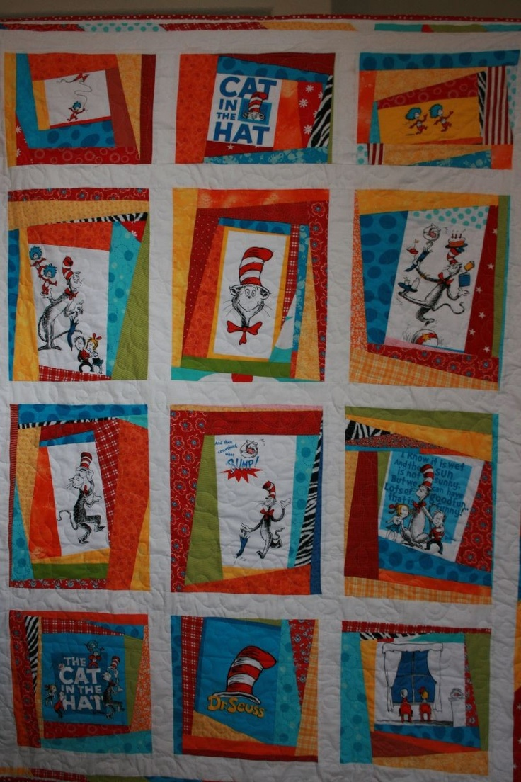 Dr Seuss Scrappy Lap Quilt by plumcozycottage on Etsy, $225.00