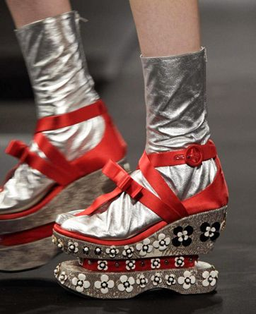 Miucci Prada. *Sigh*. And I bet they make a ton of noise when you walk in them. (Bonus.)
