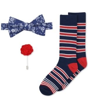 Bar Iii Men's Bow Tie, Lapel Pin & Socks Set, Only at Macy's - Blue