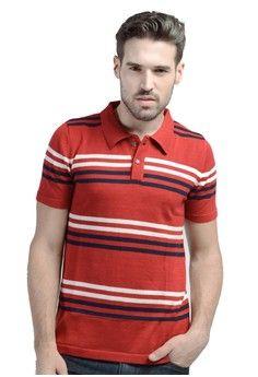 Pria > Pakaian > Atasan > Polo Shirt > Knitwork Red Striped Polo Shirt > Knitwork