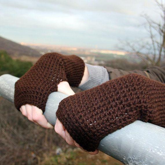 Dark Brown Fingerless Gloves / Brown Crochet Arm Warmers /