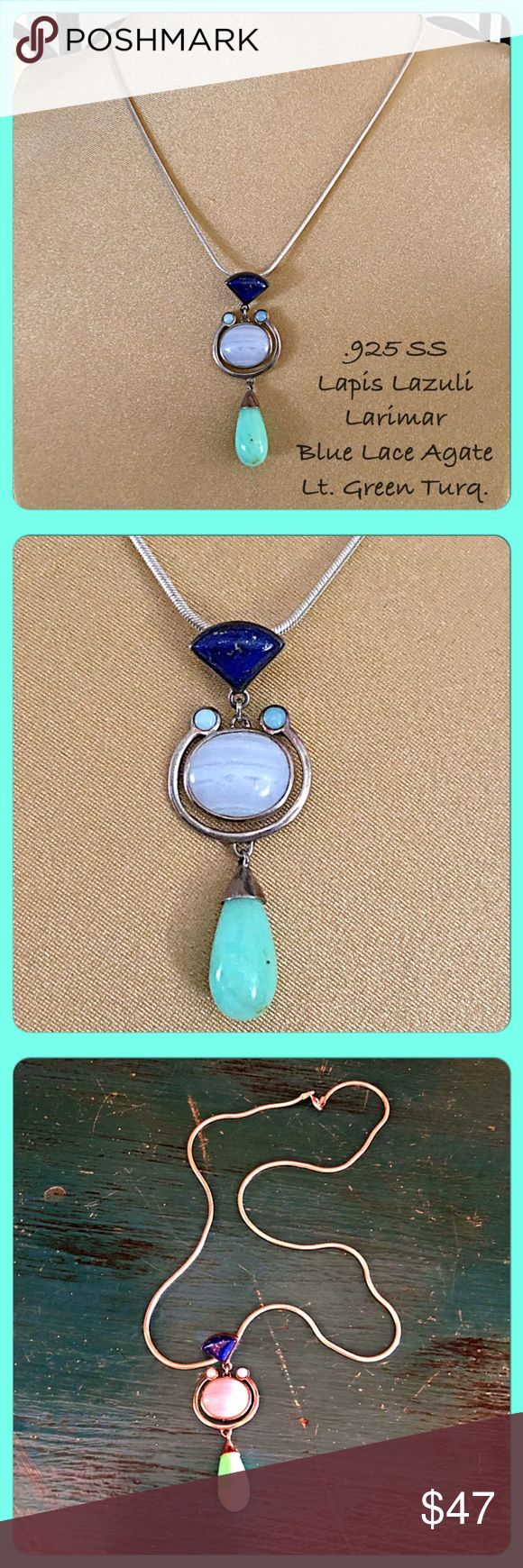 "VTG .925 SS, Semi-Precious Stones Pendant This is a beautiful vintage pendant with a contemporary look. There is a triangle shaped Lapis stone, 2 small round Larimar, blue oval lace agate, and light green turquoise teardrop stones. All set in solid .925 sterling silver. Drop is about 2"". I'm including an 18"" classic .925 sterling silver Italian snake chain. Lobster claw clasp. The pendant & chain are both about 19-20 years old but still in excellent condition. Approx. 18-20g total wt. FIRM…"