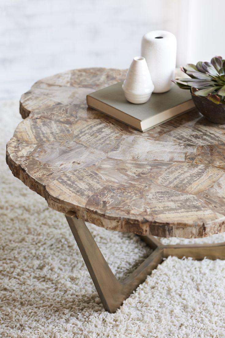 Palecek Petrified Wood Tripod Coffee Table Wrought Iron Base In