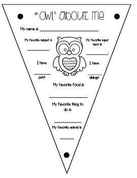 """""""OWL"""" ABOUT ME - back to school activity"""