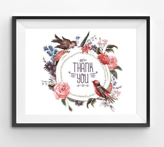 Birds flowers Illustration Thank you Print Thank You