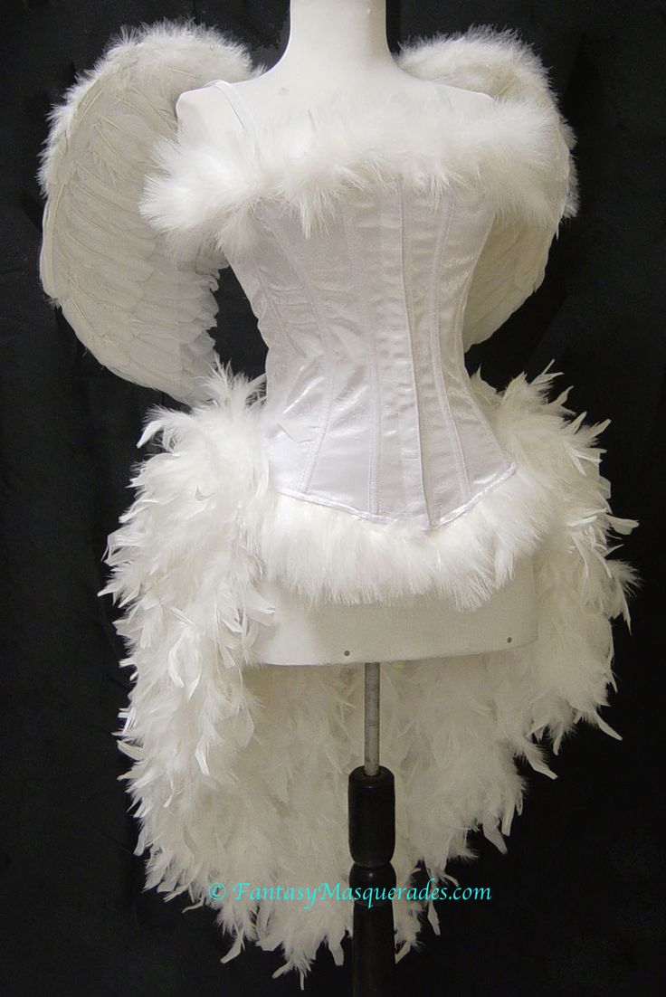 Size XS-White Angel Burlesque Feather Costume with Wings. , via Etsy.