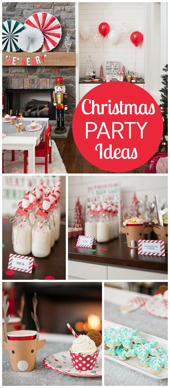 A red and white Christmas party with Santa, reindeer and snowflake cookies! See …