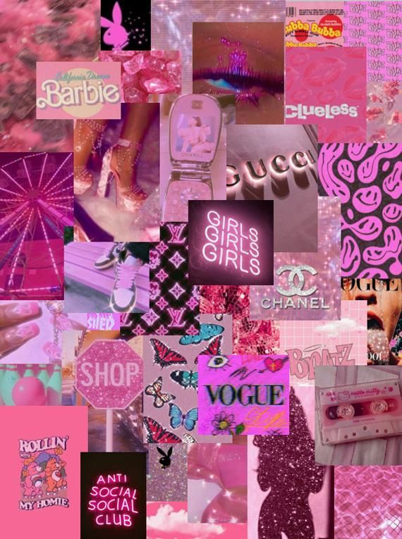 Pretty In Pink Photo Wall Collage Kit Instant Download 54 Etsy Iphone Wallpaper Girly Pink Wallpaper Laptop Pink Wallpaper