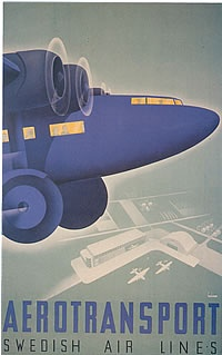 Aerotransport ABA Swedish Air Lines, by Anders Beckman 1935 vintage travel poster