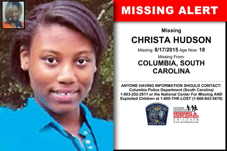 CHRISTA HUDSON, Age Now: 18, Missing: 08/17/2015. Missing From COLUMBIA, SC. ANYONE HAVING INFORMATION SHOULD CONTACT: Columbia Police Department (South Carolina) 1-803-252-2911.