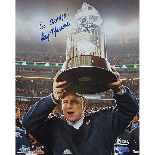 Doug Marrone Holding New Era pins. Bowl Trophy 8x10 Photo w/ Go Orange Insc.