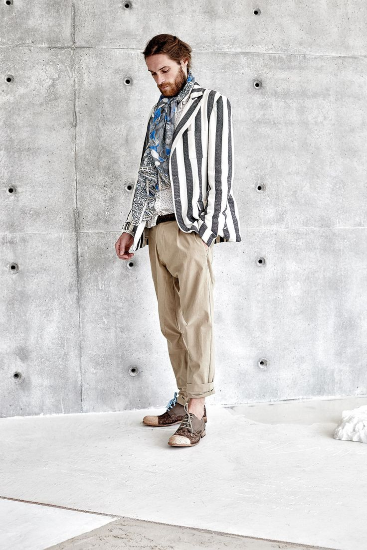 #danieladallavalle #mancollection #riccardocavaletti #ss16 #jacket #stripes #blackandwhite #fantasy #scarf #beige #pants #brown #shoes #laces #blue #black #leather #belt