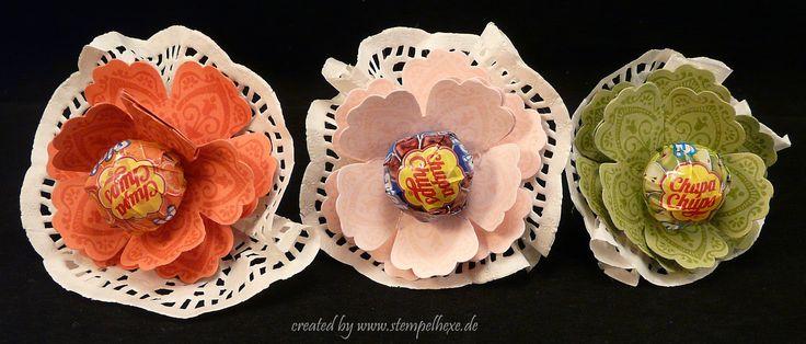 Kleine Biedermeier Sträuße mit Lutscher mit der Blumenstanze von Stampin Up
