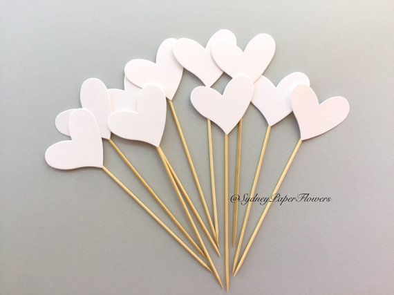 50 Heart cup cake toppers / Wedding decor/ by SydneyPaperFlowers