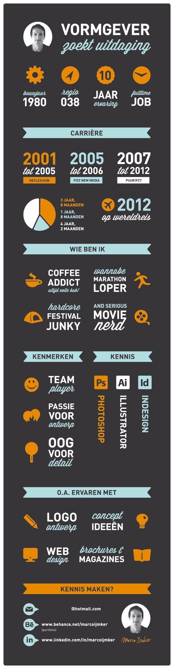 Je #cv als #infographic. Daar moet je wel een vormgever voor zijn. Maar al kijkende naar een dergelijk cv, doe je allicht weer wat (kleine) ideeën op voor je eigen cv!  http://www.vivier.nl/solliciteren.html