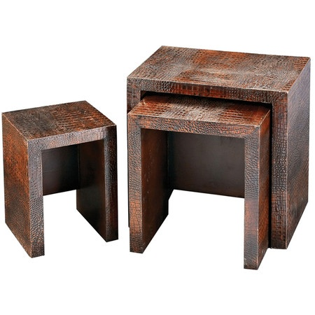 I pinned this Howard Elliot 3 Piece Boone Hall Nesting Table Set from the Steampunk Lounge event at Joss and Main!