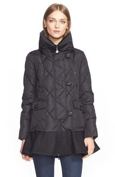 This coat looks snug and the peplum ruffle adds a bit of jaunt to an otherwise traditional puffer. Moncler 'Vauloge' Long Peplum Hem Down Coat