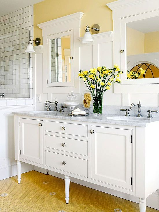 Favorite bathroom vanities - love the legs on this one - makes it feel like a piece of furniture.  And that floor!