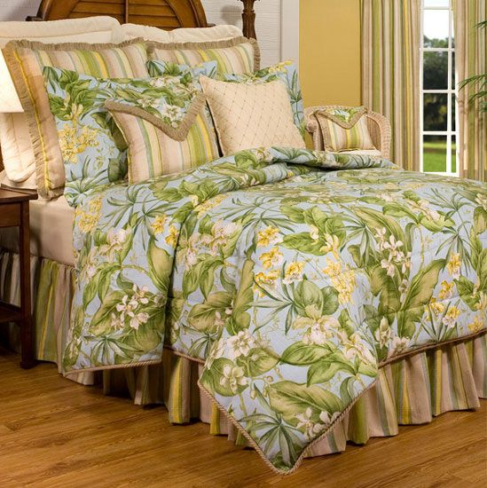 A tropical bedding collection in hues of sky blue and leaf green, Paradise Point duvet cover will transform any bedroom into a Hawaiian island oasis. Coordinating accessories and window treatments complete the look. Made in the USA.