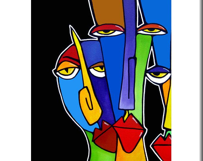 Original Abstract Painting Modern Pop Art Print Contemporary Colorful Portrait Face Wine Bar Decor By Fidostudio Got Em Good Modern Pop Art Pop Art Print Modern Abstract Painting