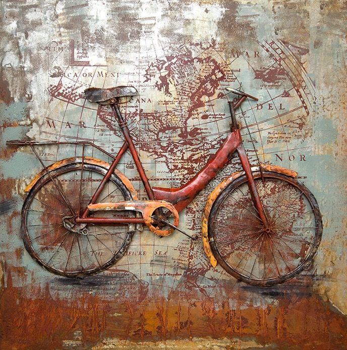 Metal Art 3D schilderij 'Fiets', alleen dan zonder fiets