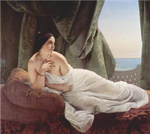 Reclining odalisque - Francesco Hayez / Orientalism