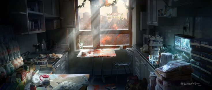 "Concept art done for the E3 2014 trailer of ""The Division"" (Blur studios). This one shows the first version of the apartment, eventually abandoned."