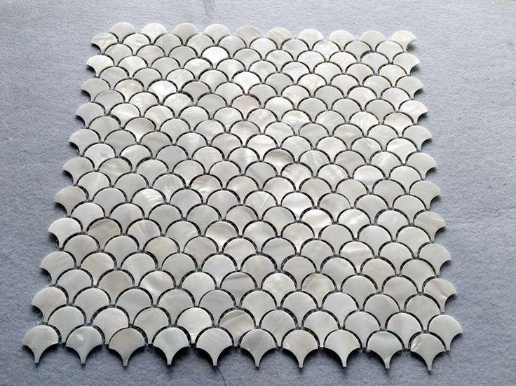 shell tile backsplash mother of pearl mosaic unique design in fish scale bathroom showers kitchen backsplash cheap wall tiles ST110; Size: 300x300x2mm; Color: Off White; Shape: Sector; Usage: Backsplash & Wall