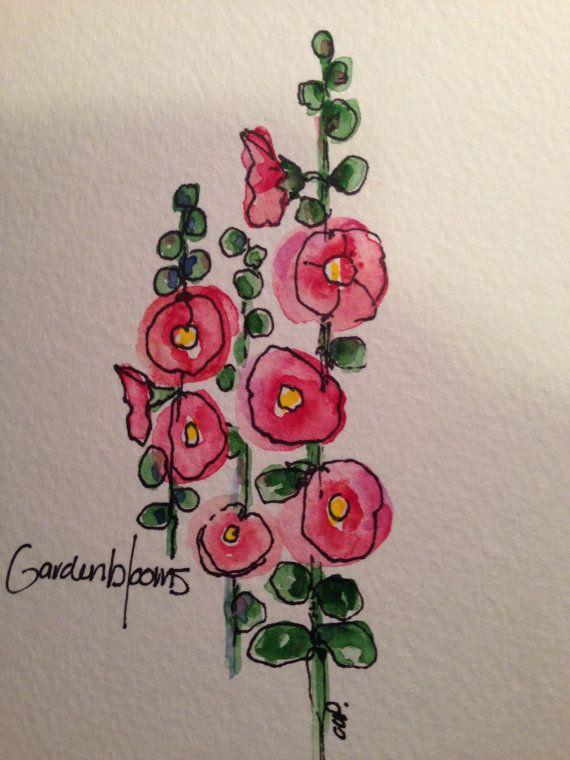 Watercolor Hollyhock Card by gardenblooms on Etsy