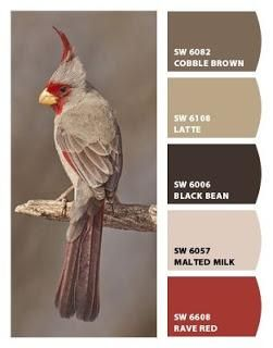 Paint colors from Chip It! by Sherwin-Williams - I pinned this just because I liked the bird.