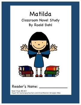 This novel study accompanies the novel Matilda written by Roald Dahl.  It is 41 pages of engaging activities that can be assembled as a packet or in a binder for guided reading or distributed one-at-a-time with whole group.  This novel study includes cause/effect organizers, a Venn Diagram, sequence activities, context clues exercises, a characterization match-up and web, and several other activities to assist students with their comprehension and to help them enjoy the book!
