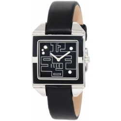 If you don't like it blue, we have it in black! This very contemporary ELLE watch for women is rectangular in shape, has a black dial,black enamel bezel with black leather strap to provide a very dramatic look. To add visual appeal and even more interest, Swarovski Crystals have been strategically placed on the dial. This is a fun watch that you will use for a long time.