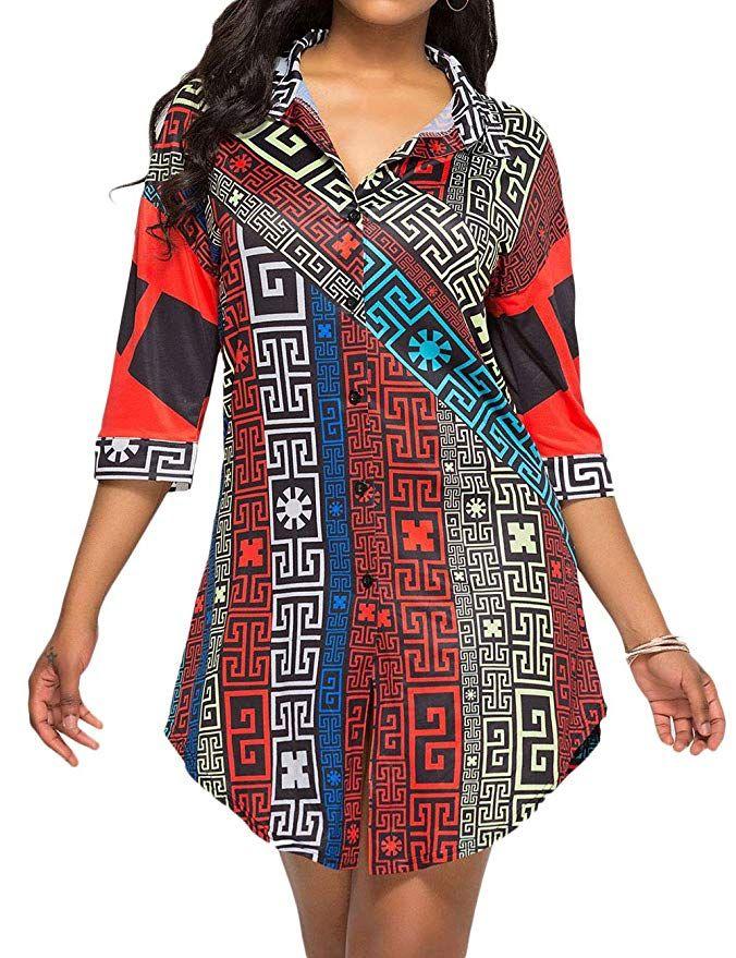 6689a569ca8b Women s Asymmetric Hem Silky Hawaii Button Down Blouse Tops Long Sleeve  Floral Print Dress Button Shirt