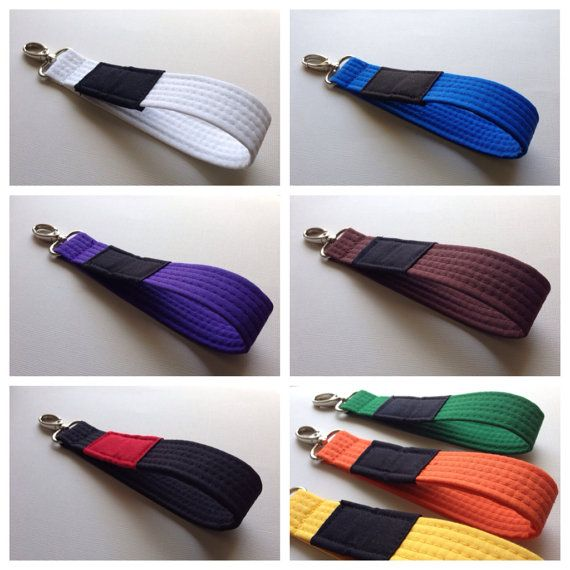 Brazilian Jiu Jitsu belt wrist key chain fob by BlueBeltBaby, $10.00