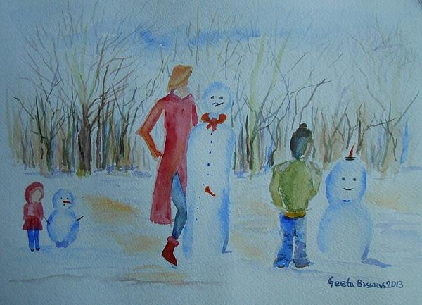 Once upon a time there was a #snowman #competition in the town which was open to all age groups. The only rule of the competition was each participant can use only one carrot for the snowman show and so the story goes !     This is an #original #concept,a #fun #art from #GeetaBiswas in #watercolor ! #snow #winter #gift #ideas #prints at $27
