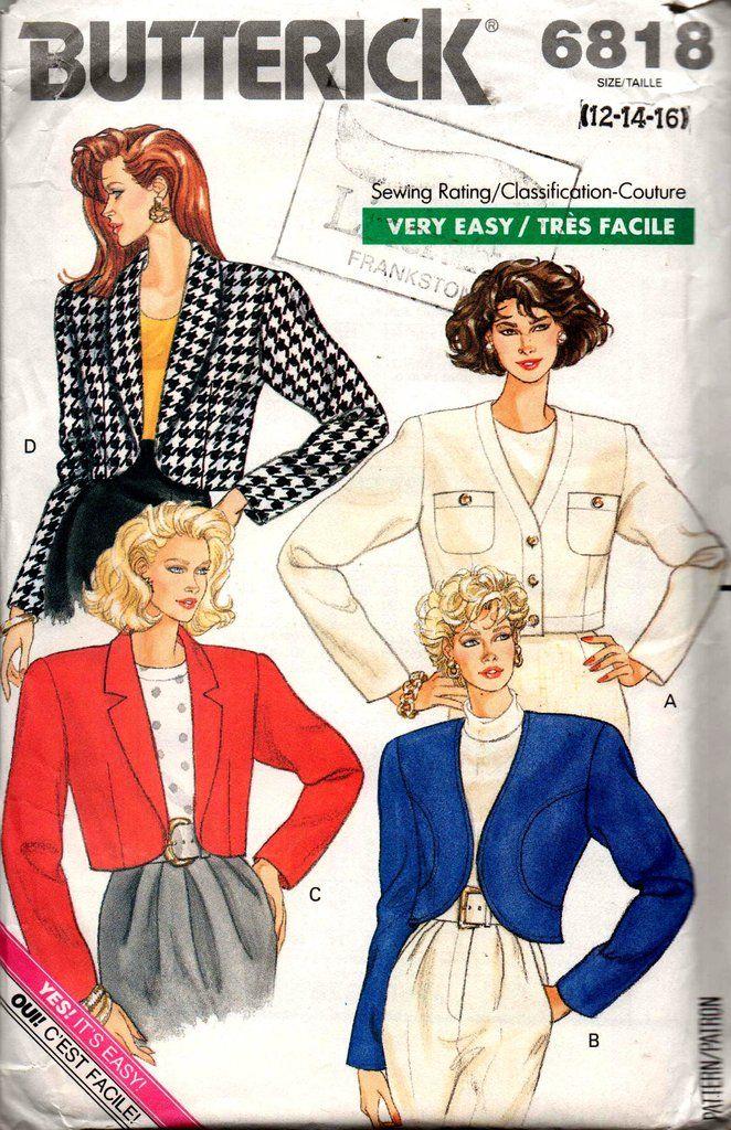 Butterick 6818 Womens Bolero Jackets 80s Vintage Sewing Pattern