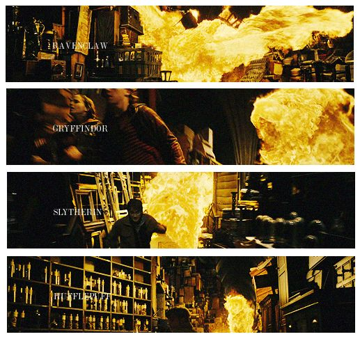 """""""If you pay attention, there is a very important scene in the Room of Requirement when the fire is personified in each Hogwarts House. This shows that every House has two sides. Good and evil"""" — David Yates."""
