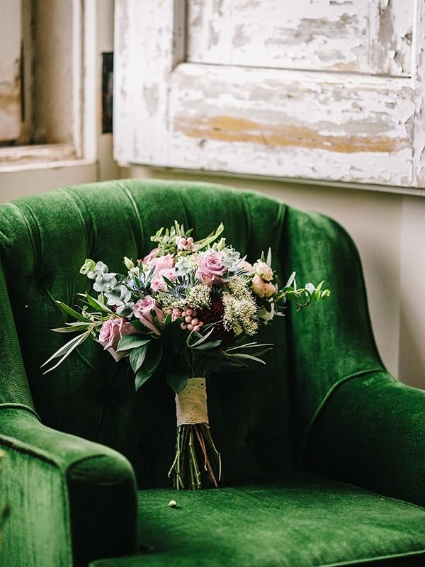 pink rose bouquet with greenery