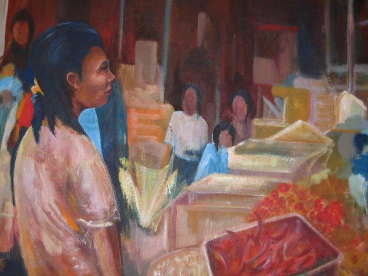 Bali market. By Brian Alexander. #acrylic painting #shopping#Sanur Bali #