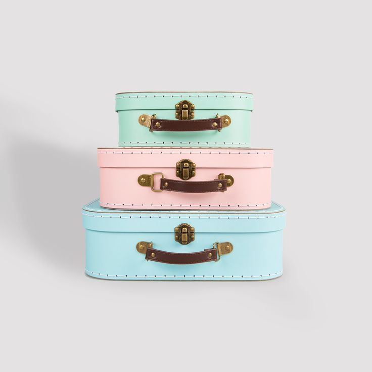 Pastel Retro Suitcases- Set of 3 . Buy online here http://www.smallthings.gr/shop/bath-room/pastel-retro-suitcase-set-of-3/#.VMkNvC53AxI