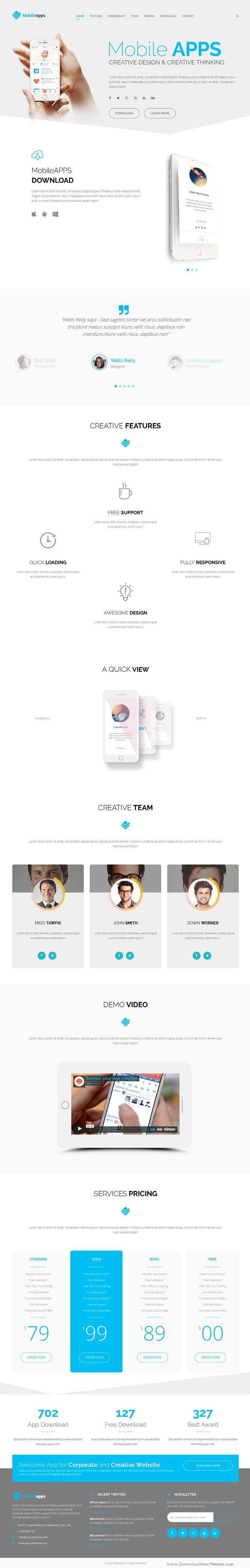 MobileApps is a Fully Responsive Landing Page Bootstrap HTML #Template for #mobile app or product #showcase website. Download Now!