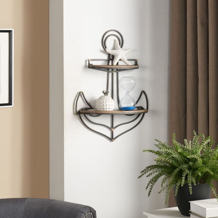 Anchor Wall Shelf Beach Nautical Boats Theme Decor Metal Frame Wood Shelving  #Danya