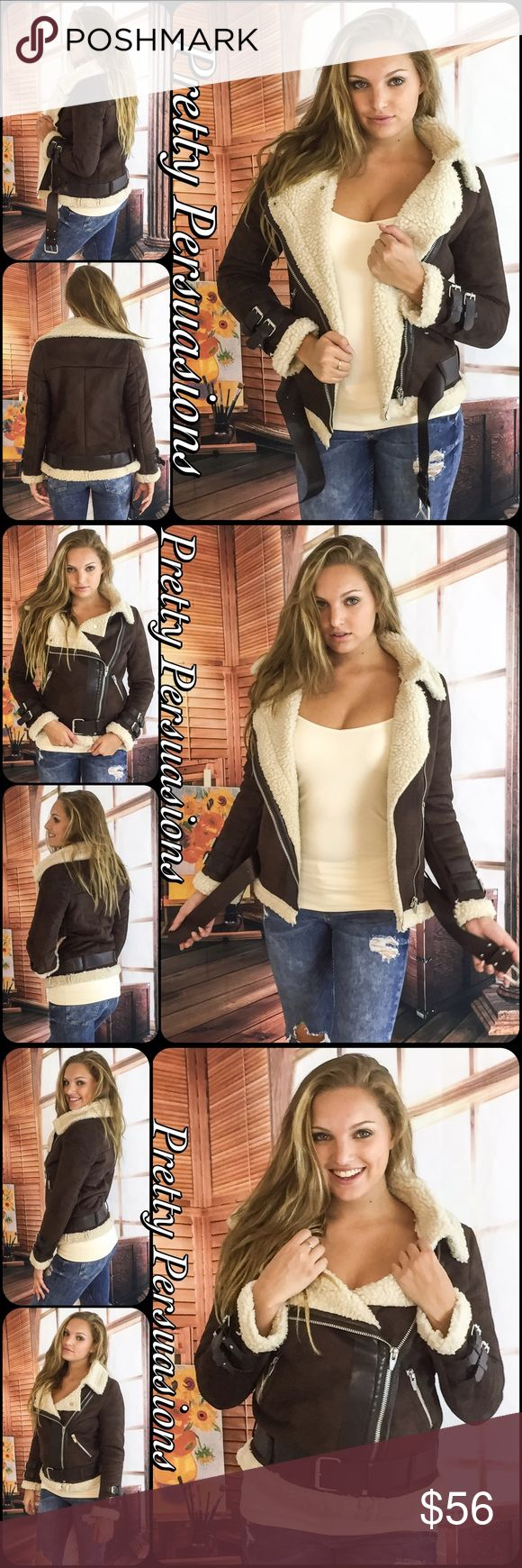 "NWT Faux Suede & Shearling Moto Utility Jacket Available in S, M, L Measurements taken from a Small  Length: 28"" Bust: 36""  Waist: 36""  Viscose Blend  Features • zip front • long sleeved • faux suede exterior • faux shearling lined • warm, soft & comfortable high quality material • buckle accents at waist & cuffs  NOTE: Size up for a less fitted/looser fit; Model wearing a Small  Bundle discounts available No pp or trades  Item # 1/109210560BSJ suede leather utility jacket Pretty Persuasions…"