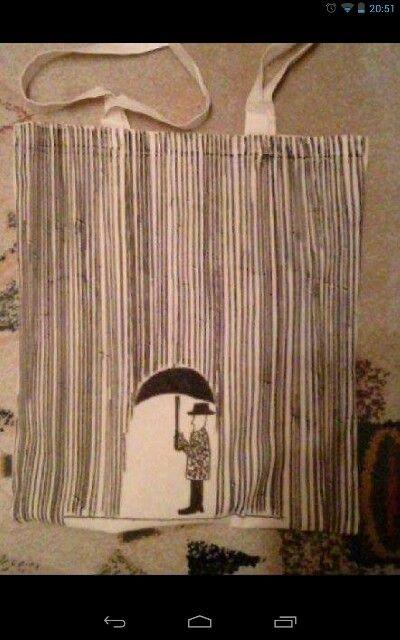 """Plátěná taška """"deštní muž,,"""