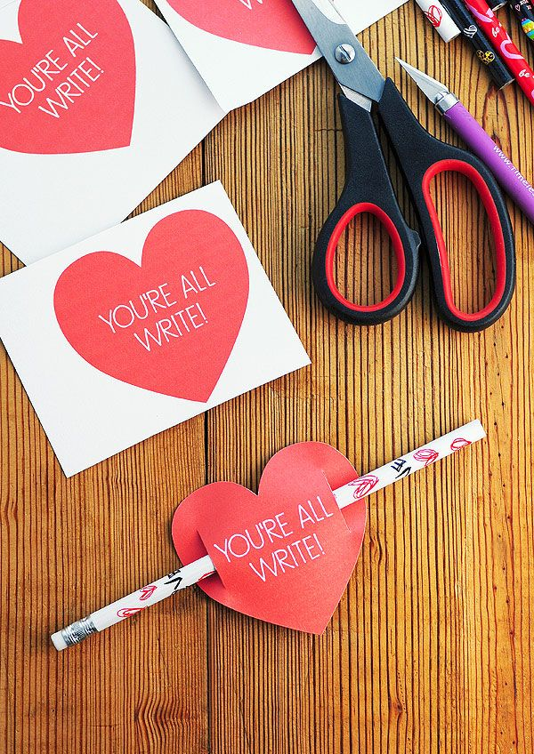 """Valentines Day Card Free Printable: """"You're All Write"""" I think these would be fun to hand out in the office. Everyone loves getting a Valentine card!"""