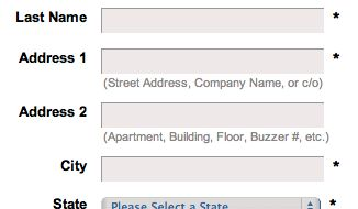 Add Descriptions To Checkout Form Labels (92% Get It Wrong)  Coastal's address line descriptions explain what information should go in line 1 and line 2 respectively.